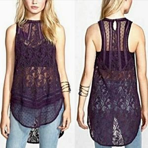 FREE PEOPLE Maisie Lace Tunic Purple small